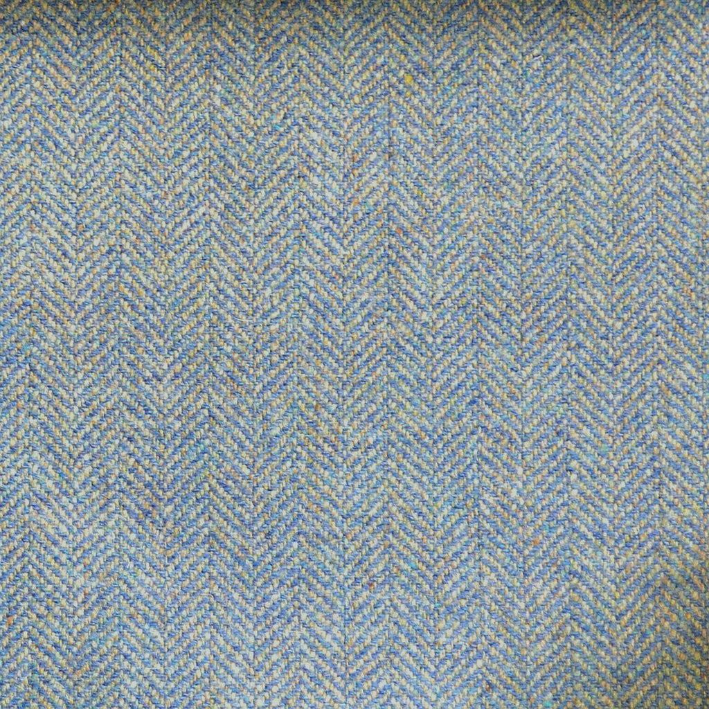 Green, Blue & Beige Herringbone Tweed