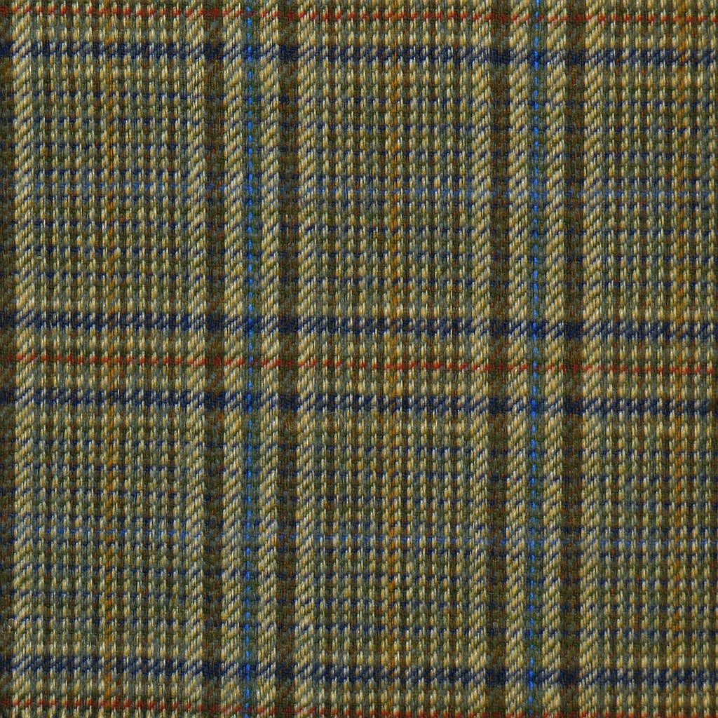Green & Brown with Red & Blue Check Tweed