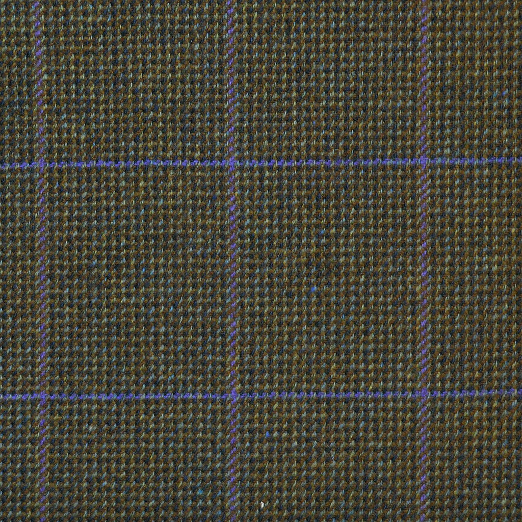 Green & Brown with Blue & Purple Check Tweed