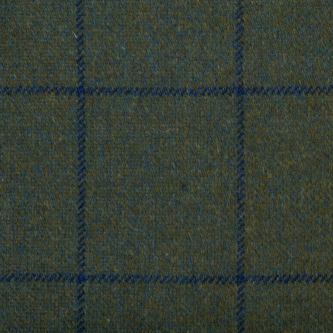 Dark Green with Blue Check Tweed