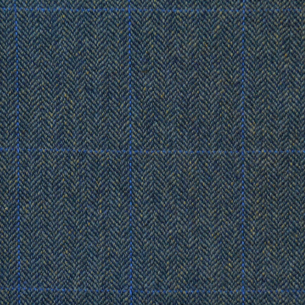 Green Herringbone with Blue Check Tweed