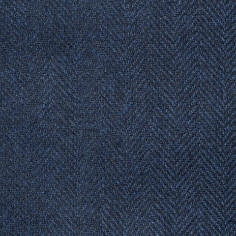 Navy Blue Herringbone Cashmere Jacketing