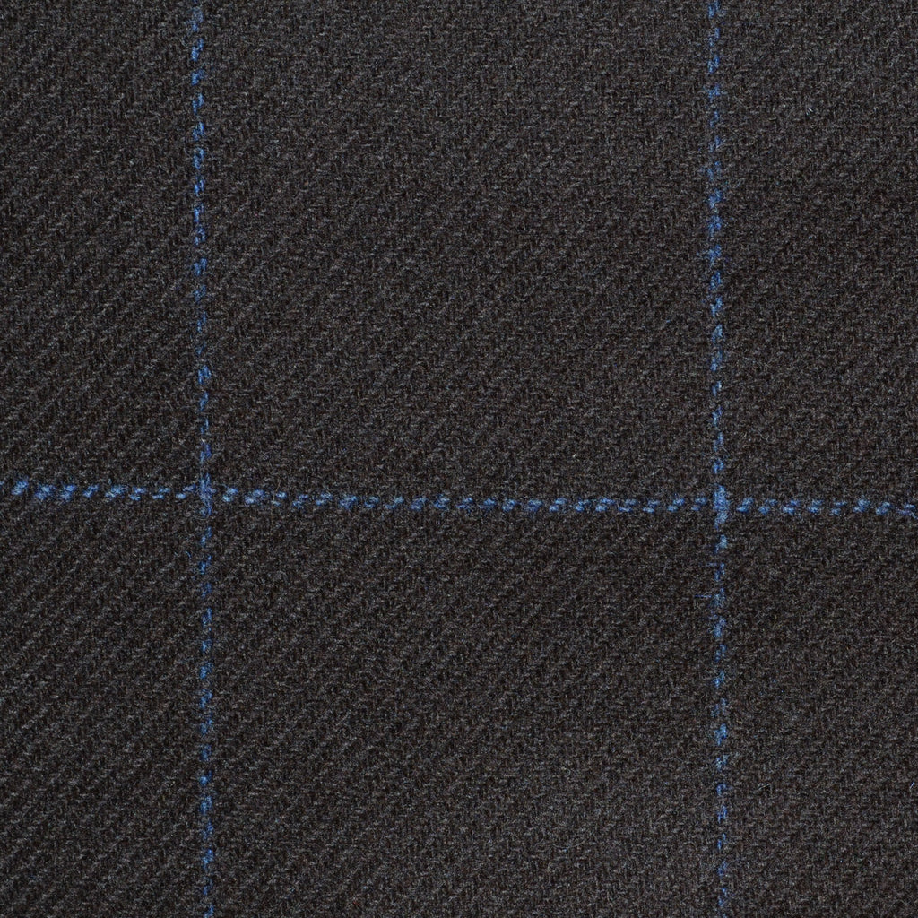 Dark Brown with Blue Window Check Cashmere Jacketing
