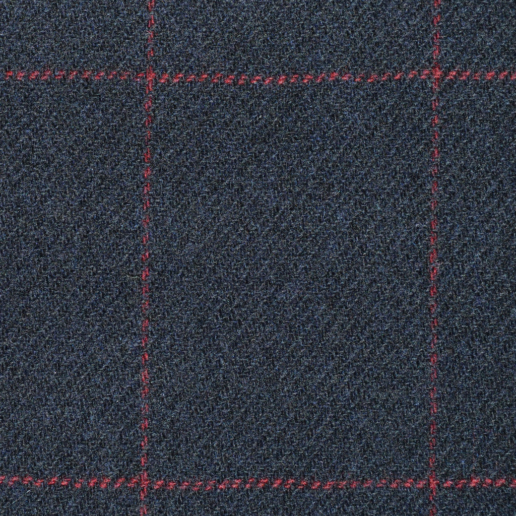 Navy Blue with Red Window Check Cashmere Jacketing