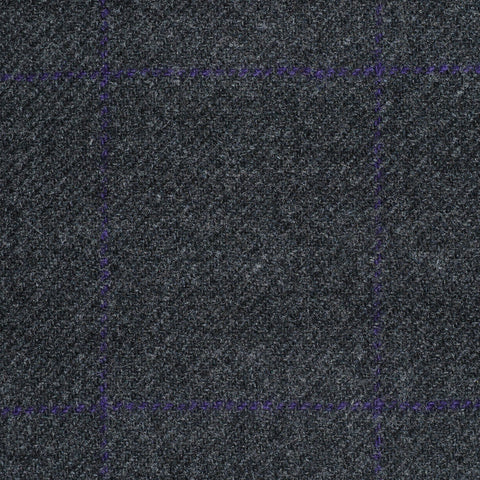 Dark Grey with Purple Window Check Cashmere Jacketing