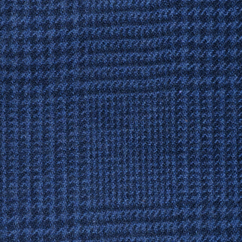 Navy Blue Prince of Wales Check Cashmere Jacketing