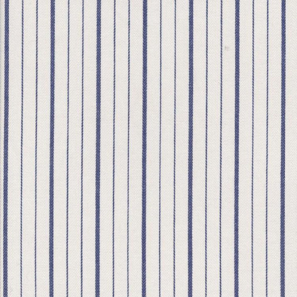 White with Blue Double Stripe Cotton Canvas Ticking Stripe