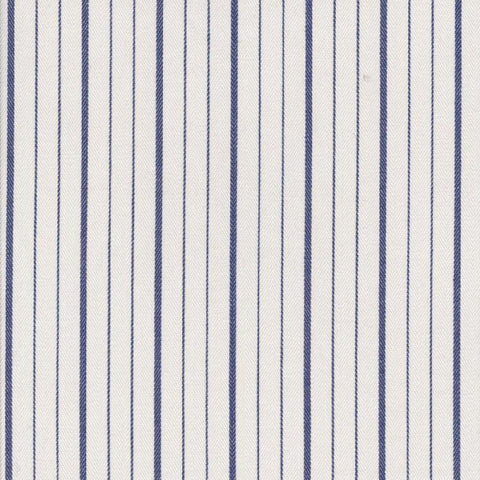 White with Blue Double Stripe Cotton Ticking Stripe
