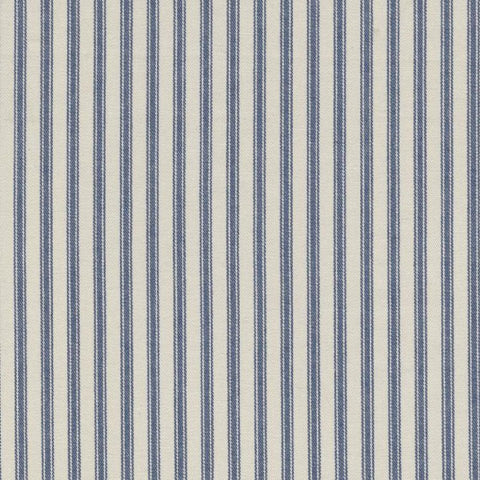 White with Blue Triple Stripe Cotton Ticking Stripe