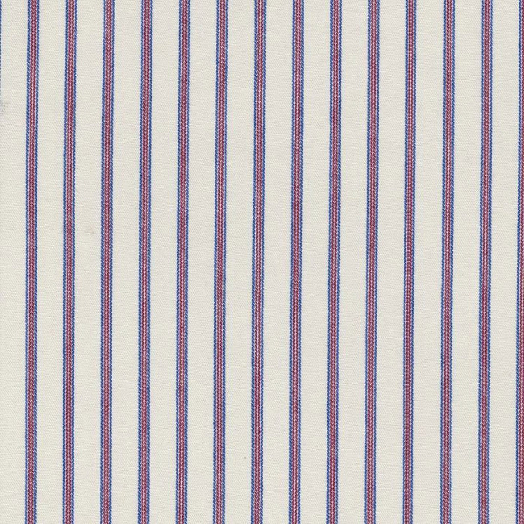 White with Blue & Red Triple Stripe Cotton Ticking Stripe