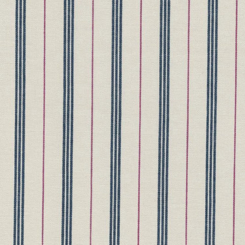 White with Blue Triple Stripe and Red Alternate Stripe Cotton Ticking Stripe