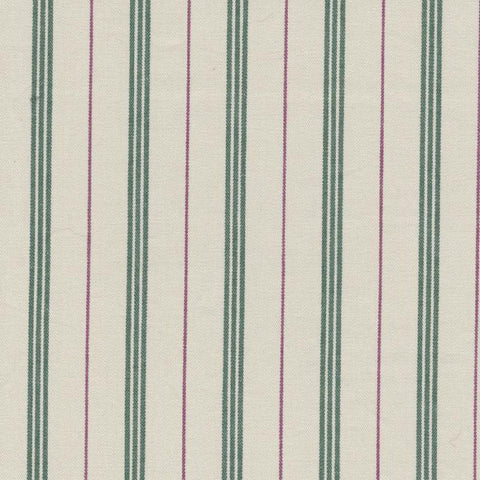 White with Green Triple Stripe and Red Alternate Stripe Cotton Ticking Stripe