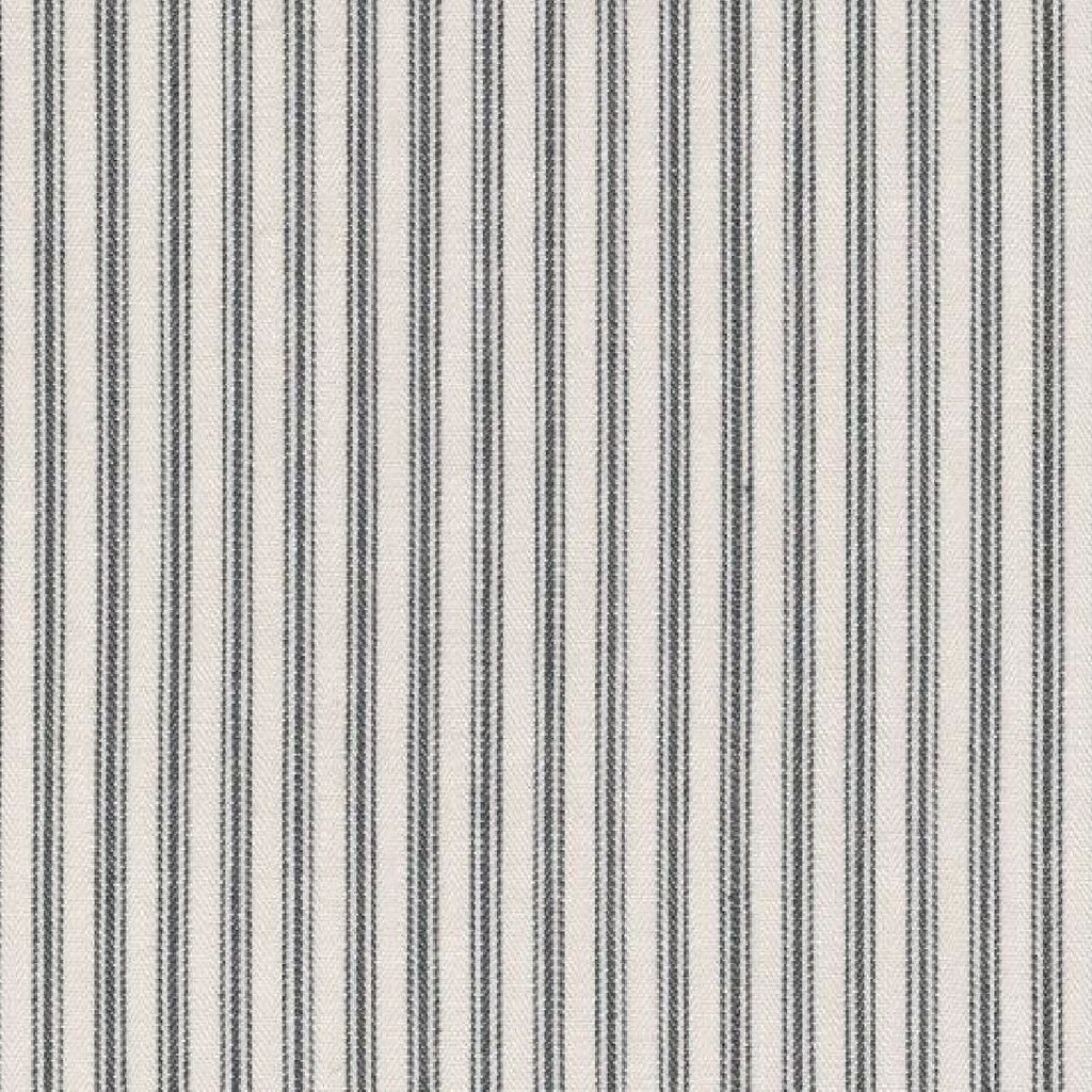 White with Green Triple Stripe Cotton Ticking Stripe