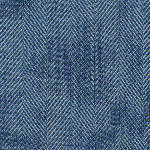 Denim Blue Herringbone Linen