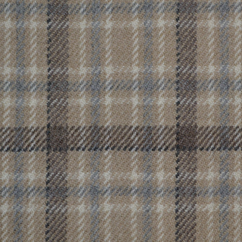 Beige, Blue, Brown & White Multi Check Holland & Sherry Jacketing