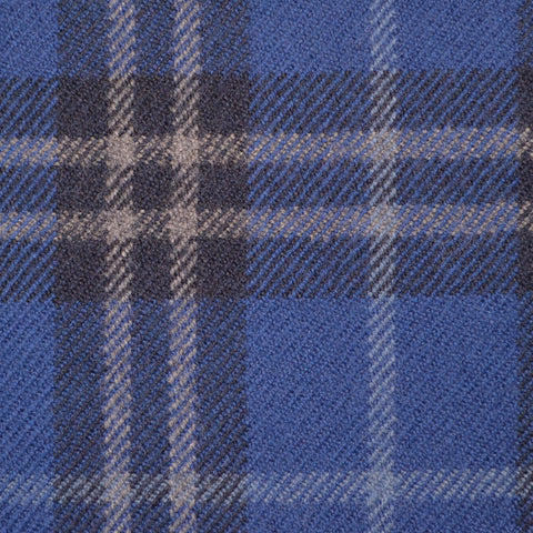 Royal Blue, Navy Blue & Grey Multi Check Holland & Sherry Jacketing