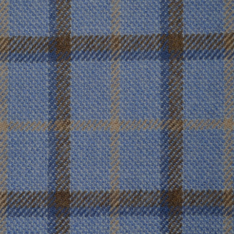 Light Blue, Brown & Beige Multi Check Holland & Sherry Jacketing