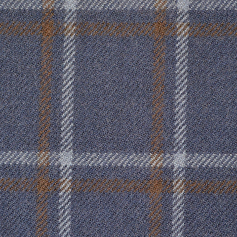 Navy Blue, Brown & Grey Multi Check Holland & Sherry Jacketing