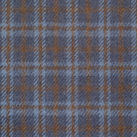 Navy Blue, Light Blue & Brown Multi Check Holland & Sherry Jacketing