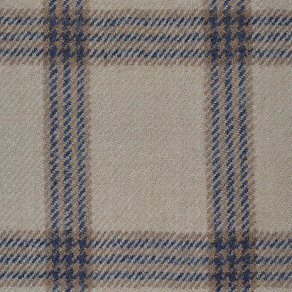 Beige & Blue Triple Check Holland & Sherry Jacketing