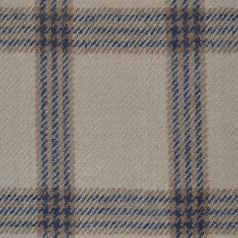Beige with Brown, Red and Blue Check Wool & Cashmere Jacketing