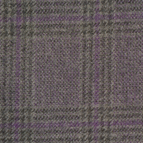 Grey & Purple Glen Check Holland & Sherry Jacketing