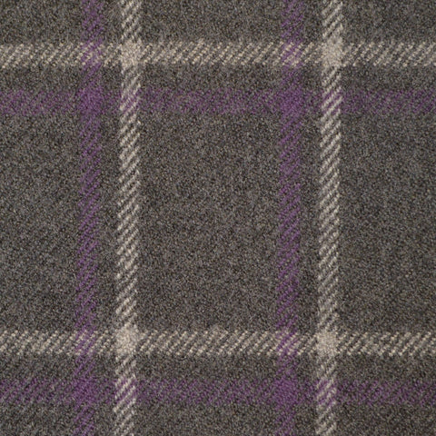 Grey, Purple & White Multi Check Holland & Sherry Jacketing