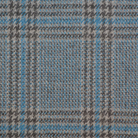 Grey & Medium Blue Glen Check Holland & Sherry Jacketing