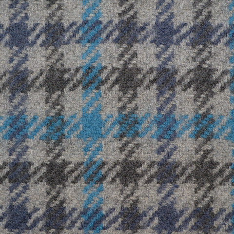 Grey, Dark Grey & Blue Check Holland & Sherry Jacketing