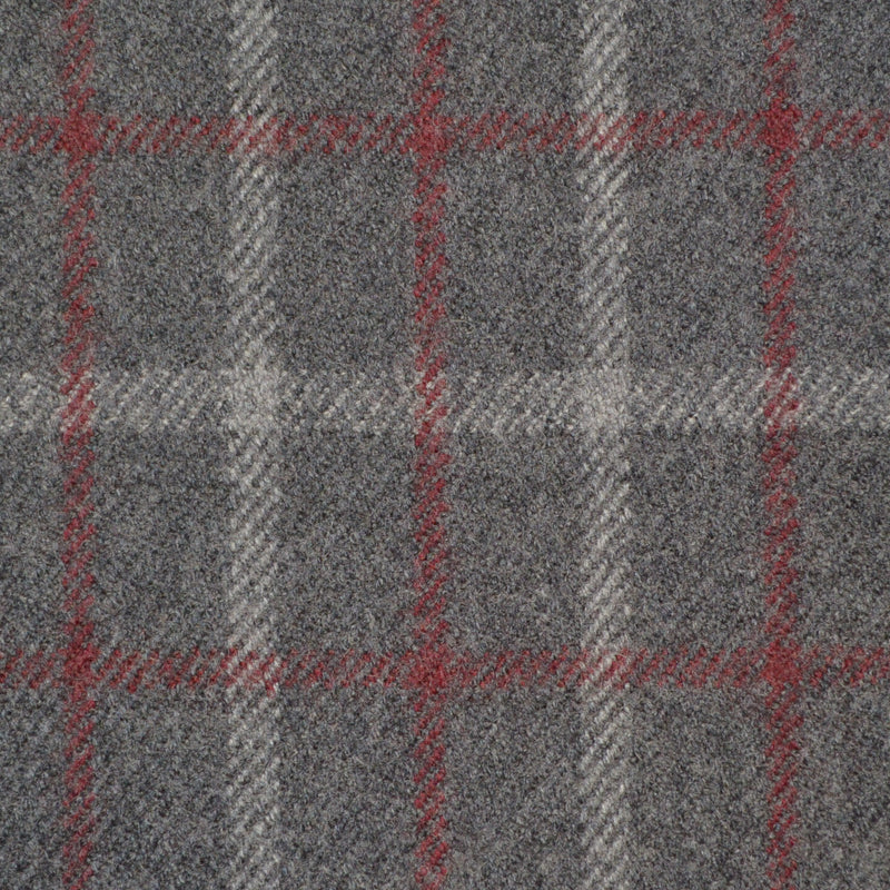 Grey, Red & Silver Check Holland & Sherry Jacketing