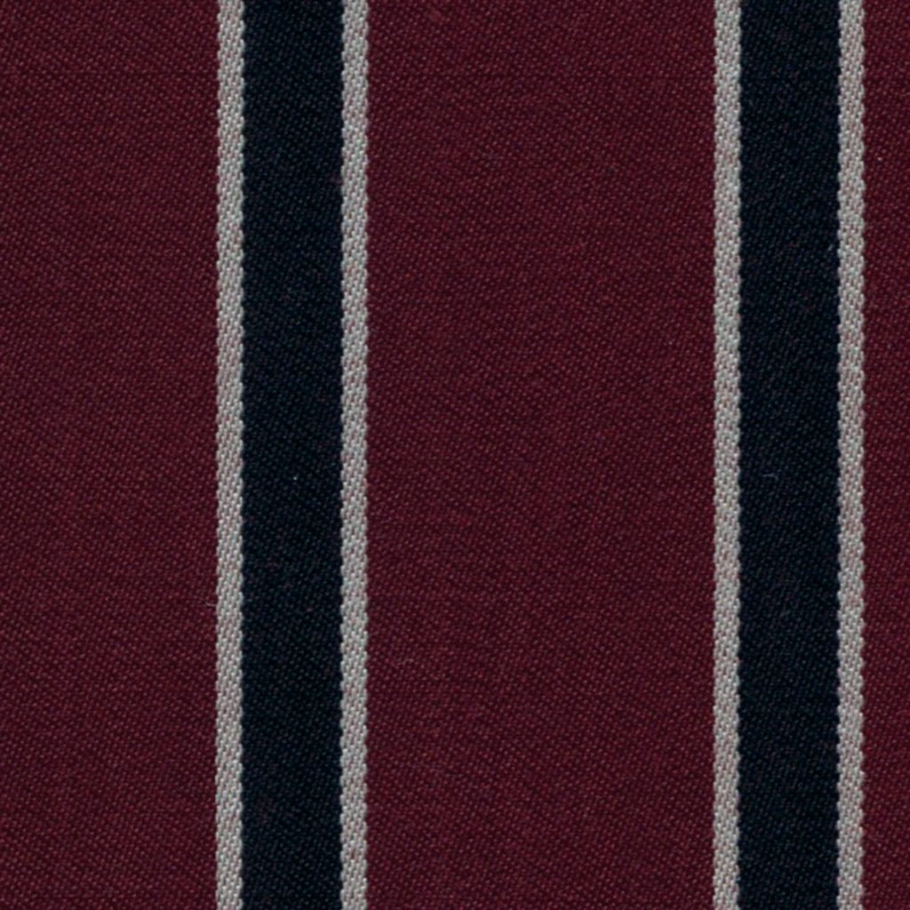Burgundy, Navy Blue and White Blazer Stripe Jacketing by Holland & Sherry