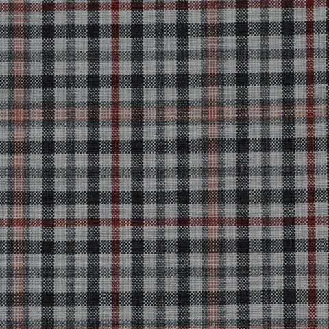 Beige, Black, Orange & Red Check Holland & Sherry Jacketing