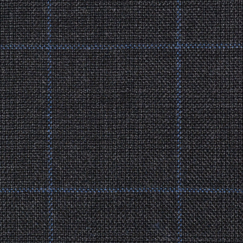 Dark Grey Glen Check Super 100's All Wool Suiting By Holland & Sherry