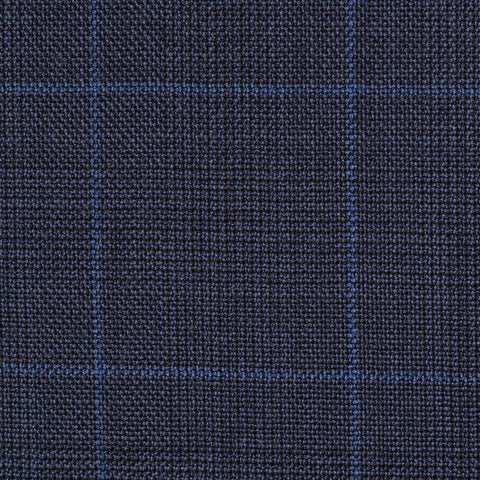 Bright Navy Blue Glen Check Super 100's All Wool Suiting By Holland & Sherry