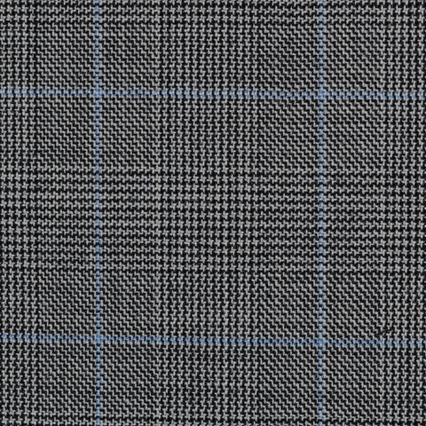Light Grey Glen Check Super 100's All Wool Suiting By Holland & Sherry