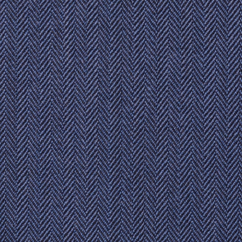 Denim Blue Narrow Herringbone Super 100's All Wool Suiting By Holland & Sherry