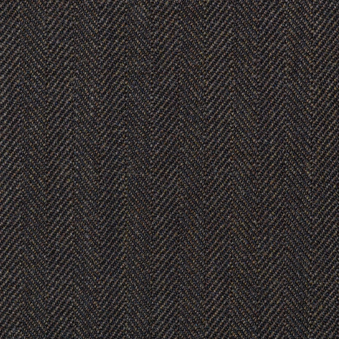 Medium Brown Narrow Herringbone Super 100's All Wool Suiting By Holland & Sherry
