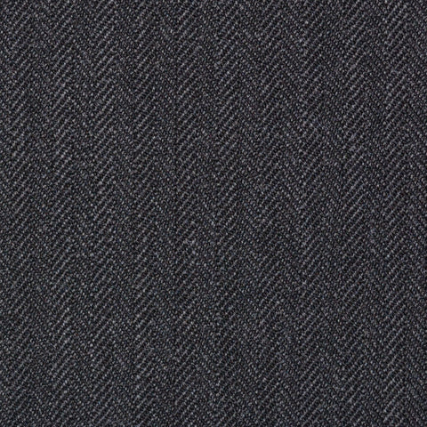Dark Grey Narrow Herringbone Super 100's All Wool Suiting By Holland & Sherry