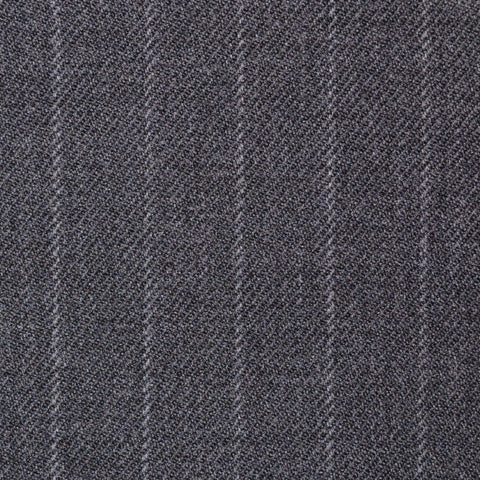 Medium Grey Chalk Stripe Super 100's All Wool Suiting By Holland & Sherry