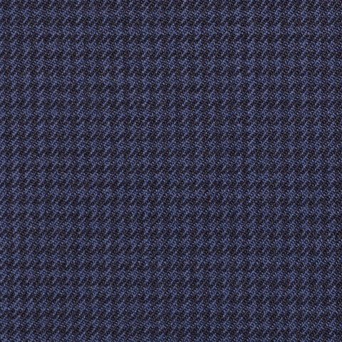 Medium Blue and Navy Blue Small Dogtooth Check Super 100's All Wool Suiting By Holland & Sherry