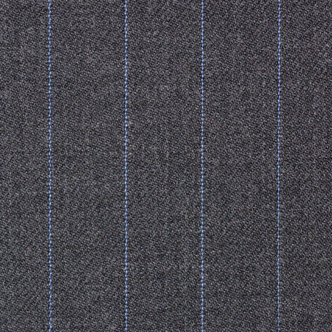 Dark Grey with Blue Pinstripe Super 100's All Wool Suiting By Holland & Sherry