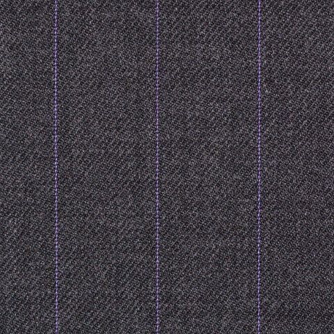 Dark Grey with Lilac Pinstripe Super 100's All Wool Suiting By Holland & Sherry