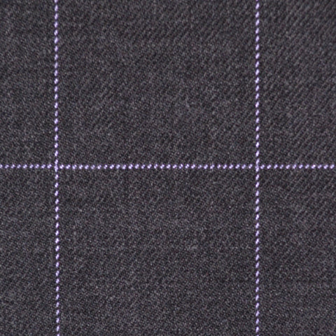 Dark Grey with Lilac Window Pane Check Super 100's All Wool Suiting By Holland & Sherry