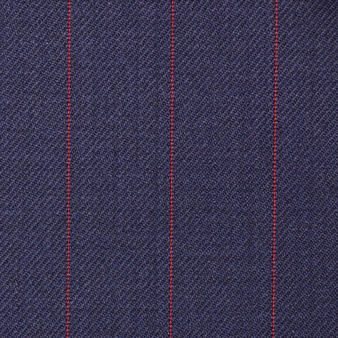 Navy Blue with Red Pinstripe Super 100's All Wool Suiting By Holland & Sherry