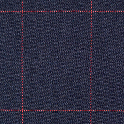 Navy Blue with Red Window Pane Check Super 100's All Wool Suiting By Holland & Sherry