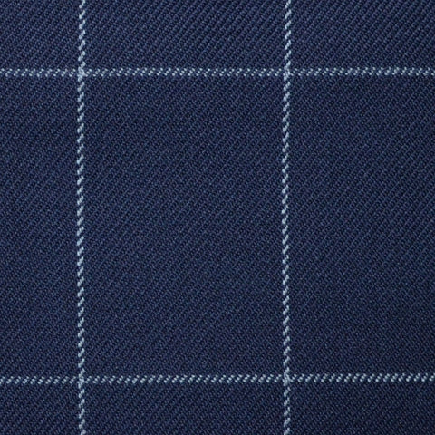 Navy Blue with Silver Grey Window Pane Check Super 100's All Wool Suiting By Holland & Sherry