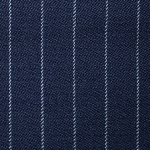 Navy Blue with Silver Grey Chalk Stripe Super 100's All Wool Suiting By Holland & Sherry