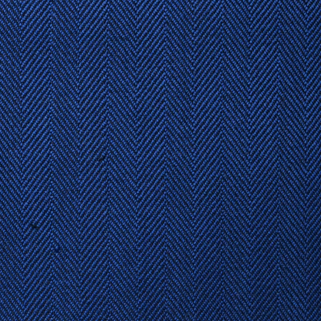 Medium Blue Herringbone Super 100's All Wool Suiting By Holland & Sherry