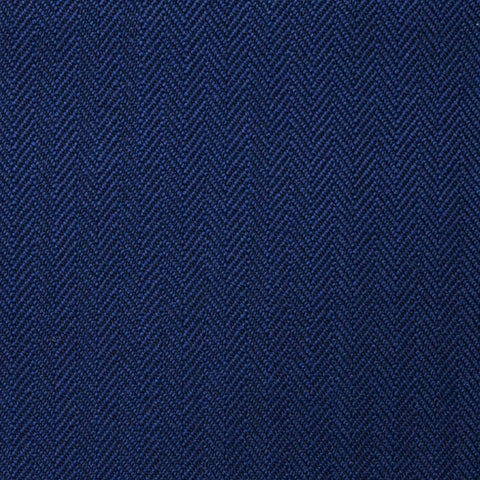 Bright Navy Blue Narrow Herringbone Super 100's All Wool Suiting By Holland & Sherry