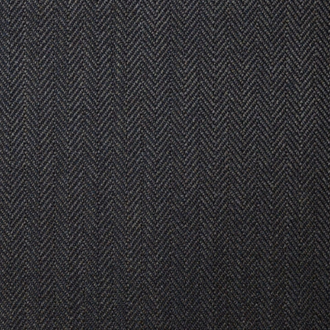 Dark Brown Narrow Herringbone Super 100's All Wool Suiting By Holland & Sherry